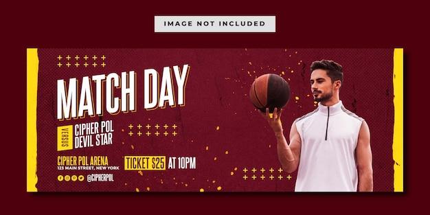 Modelo de banner do facebook de evento esportivo de basquete