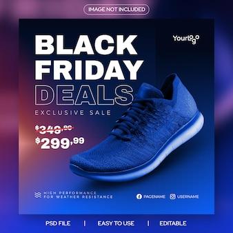Modelo de banner do feed do instagram para promoção de sapatos pretos sexta-feira