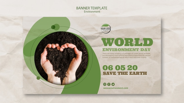 Modelo de banner do mundo ambiente dia com solo em forma de coração