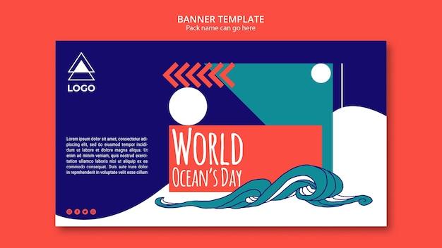 Modelo de banner do mundo oceano dia