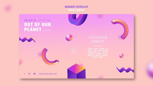 Modelo de banner do show de música out of our planet Psd Premium
