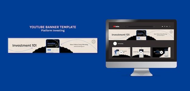 Modelo de banner do youtube de investimento em plataforma