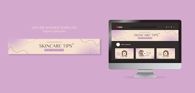 Modelo de banner do youtube para cuidados com a pele