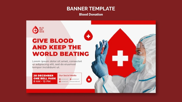Modelo de banner doando ato de sangue