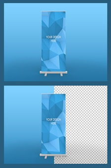 Modelo de banner enrolado isolado