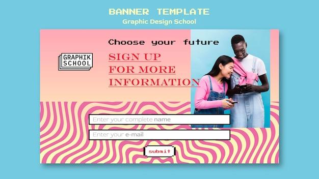 Modelo de banner escolar de design gráfico com foto
