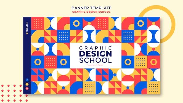 Modelo de banner escolar de design gráfico