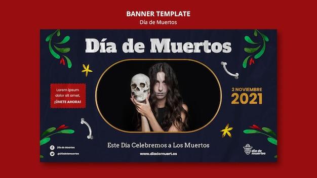 Modelo de banner escuro de dia de muertos