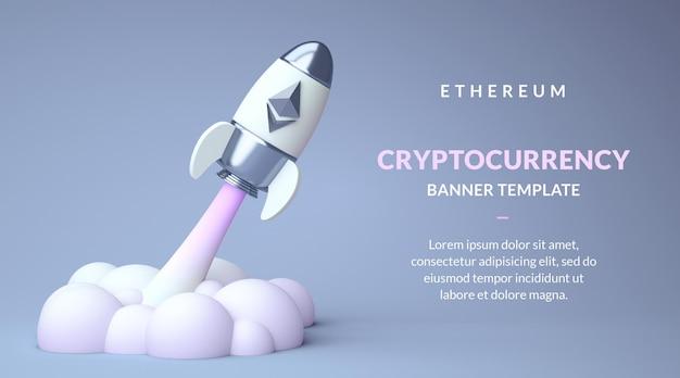 Modelo de banner ethereum eth com espaço de cópia, criptomoeda de alta em um foguete em renderização 3d