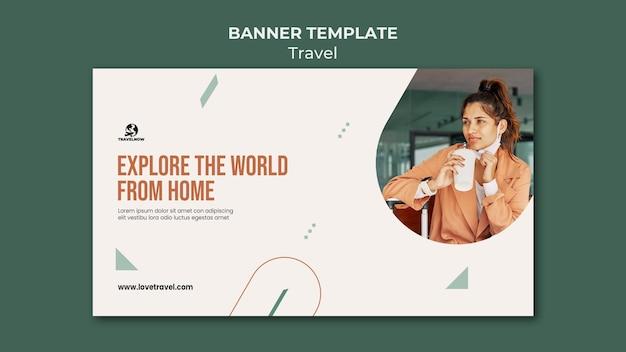 Modelo de banner explorando o mundo