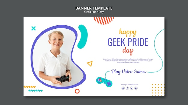 Modelo de banner feliz dia do orgulho nerd