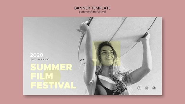 Modelo de banner festival de cinema de verão