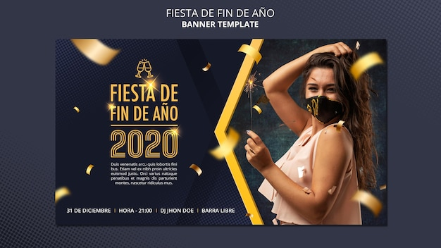 Modelo de banner fiesta de fin de ano 2020