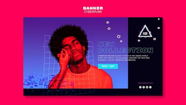 Modelo de banner futurista cyberpunk