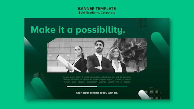 Modelo de banner gradiente horizontal para carreira corporativa