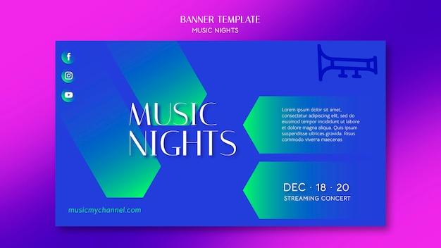 Modelo de banner gradiente para festival de noites de música