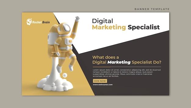 Modelo de banner horizontal astronauta fly rocket marketing digital