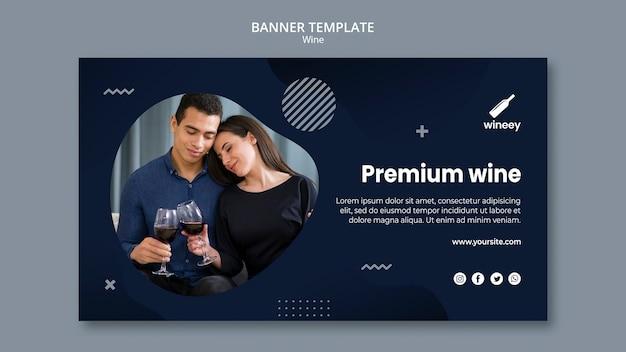 Modelo de banner horizontal com casal para vinícola