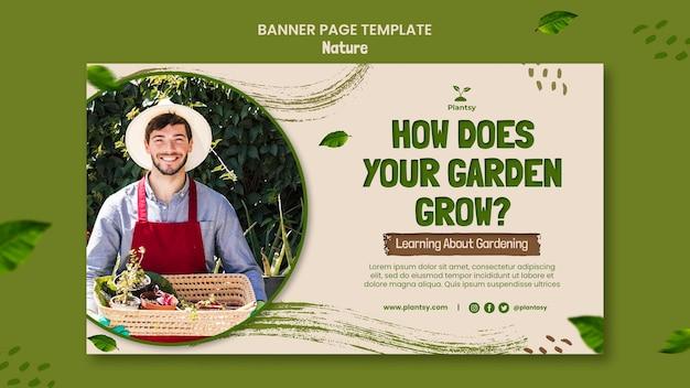 Modelo de banner horizontal com dicas de jardinagem
