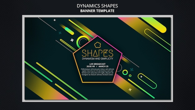 Modelo de banner horizontal com formas geométricas de néon dinâmicas