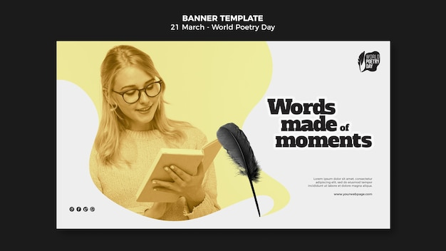Modelo de banner horizontal com foto de evento do dia mundial da poesia