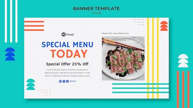 Modelo de banner horizontal com pratos da culinária asiática