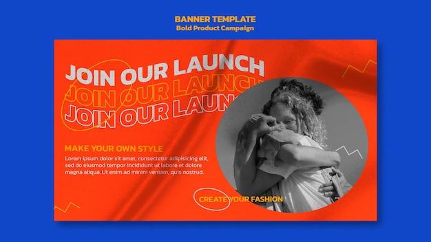 Modelo de banner horizontal da campanha de produto