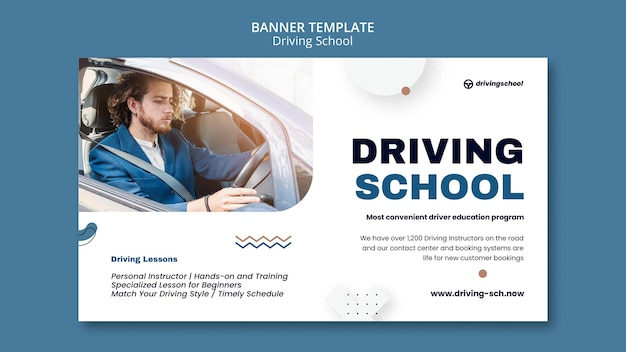 Modelo de banner horizontal da escola de direção