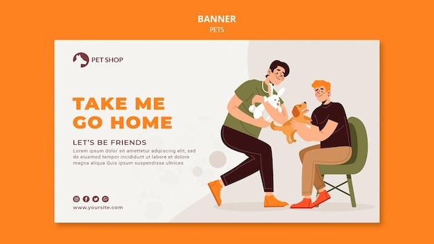 Modelo de banner horizontal de adoção de pet shop