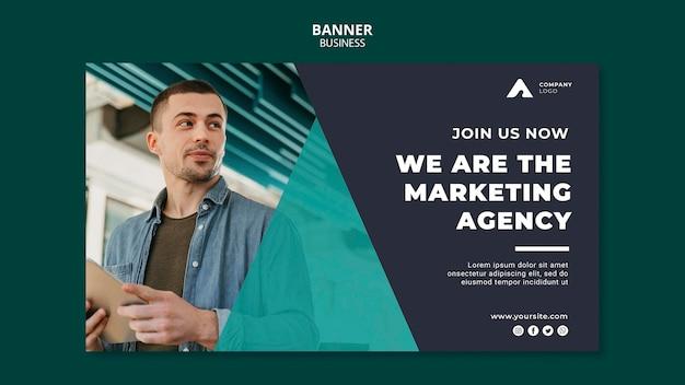 Modelo de banner horizontal de agência de marketing