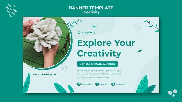 Modelo de banner horizontal de arte em papel