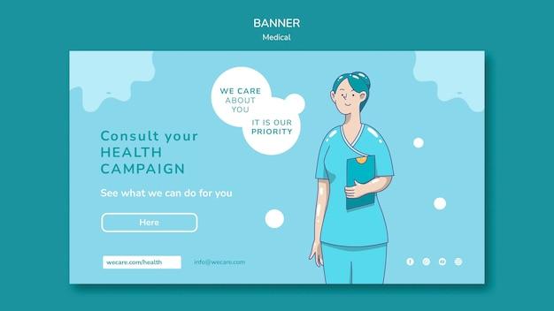 Modelo de banner horizontal de assistência médica