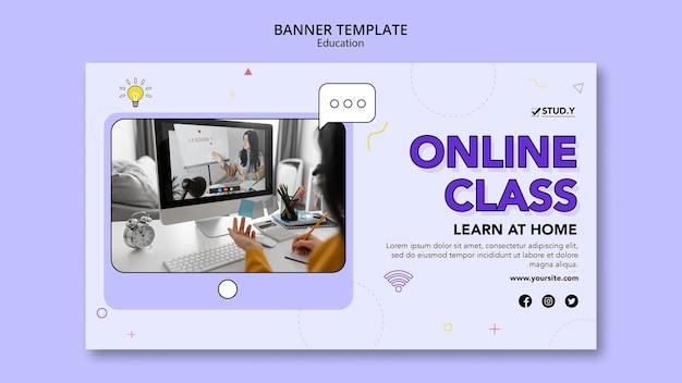 Modelo de banner horizontal de aula online