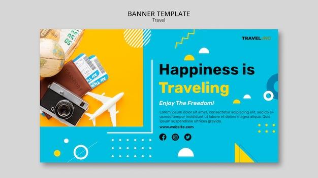 Modelo de banner horizontal de aventura de viagem