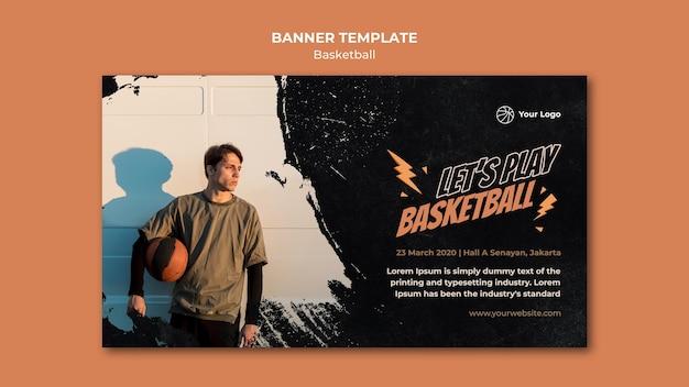 Modelo de banner horizontal de basquete