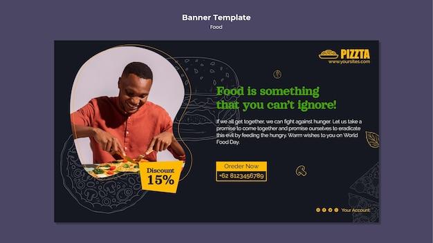 Modelo de banner horizontal de boa comida