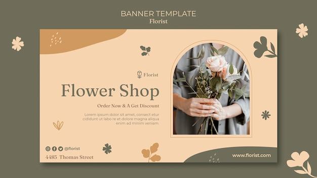 Modelo de banner horizontal de buquê de flores