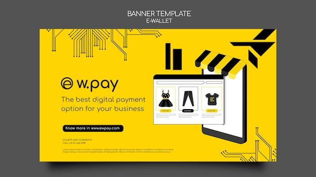 Modelo de banner horizontal de carteira eletrônica