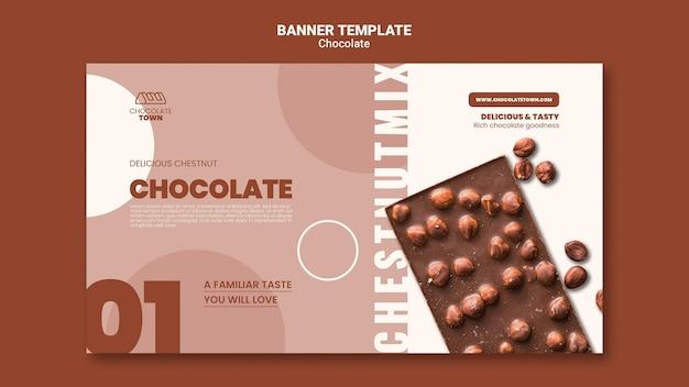 Modelo de banner horizontal de chocolate delicioso