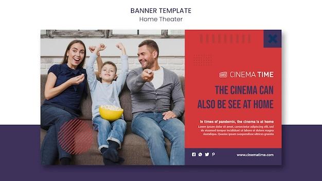 Modelo de banner horizontal de cinema em casa