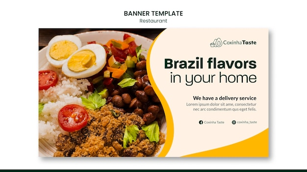 Modelo de banner horizontal de comida brasileira