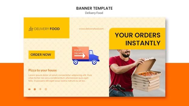 Modelo de banner horizontal de comida de entrega