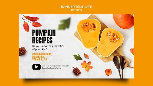 Modelo de banner horizontal de comida de outono