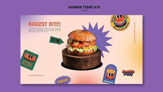 Modelo de banner horizontal de comida deliciosa