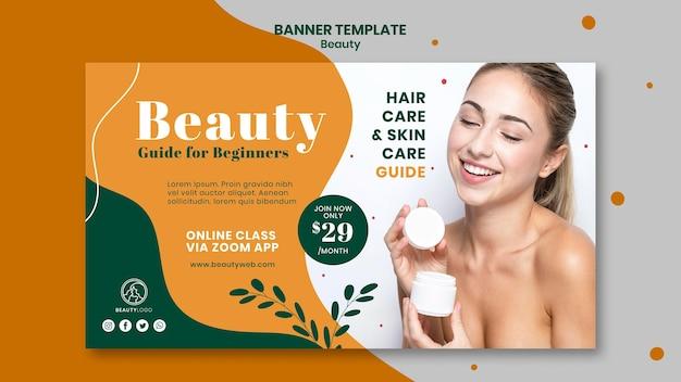 Modelo de banner horizontal de conceito de beleza