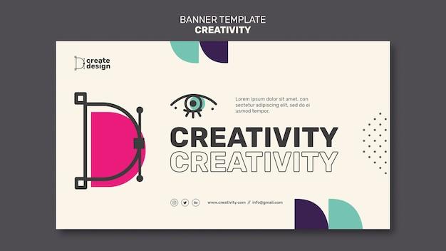 Modelo de banner horizontal de conceito de criatividade