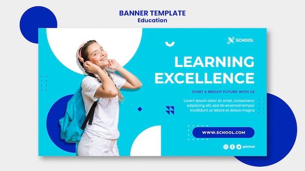 Modelo de banner horizontal de conceito de educação