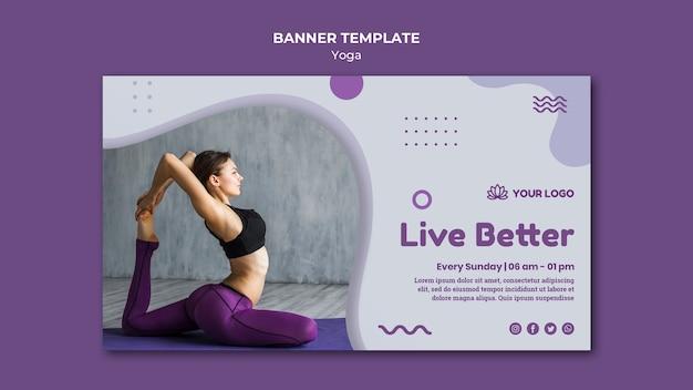 Modelo de banner horizontal de conceito de ioga