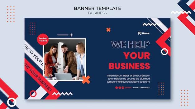 Modelo de banner horizontal de conceito de negócio