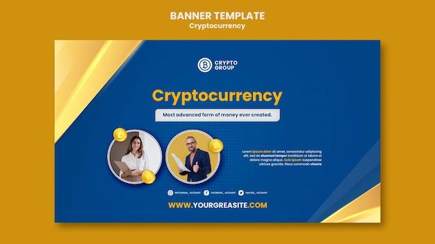 Modelo de banner horizontal de criptomoeda